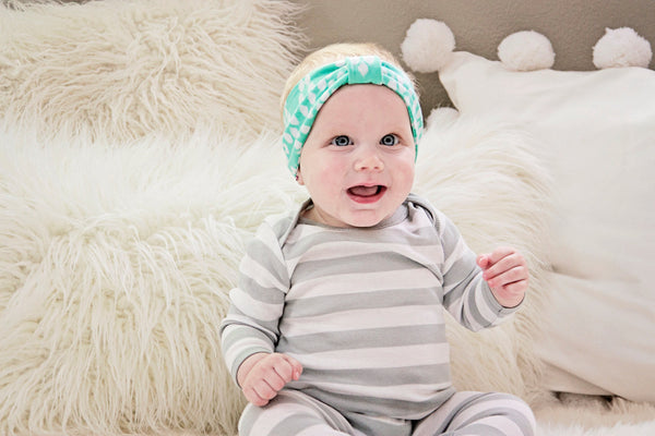 Baby Turban, Baby Head Wrap, Infant Head Wrap, Toddler Head Wrap / Mint iKat Turban