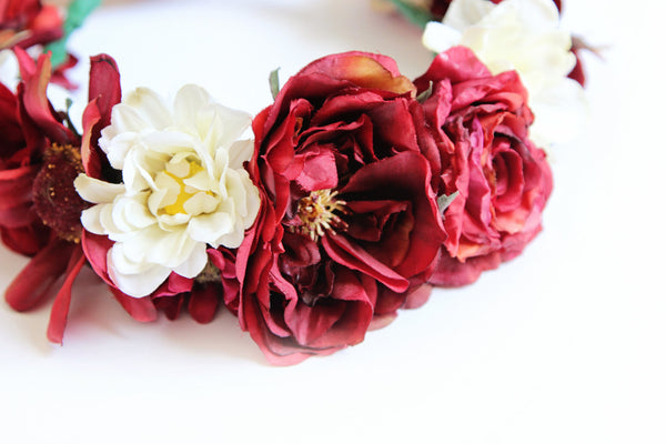 Ox Blood + Cream Flower Crown