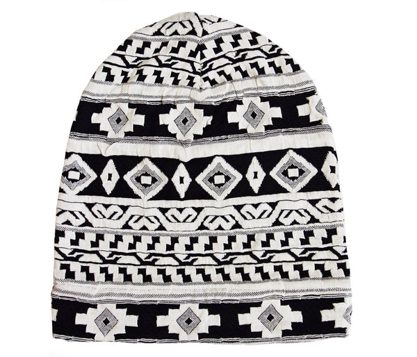 Navy and White Tribal Slouch Beanie
