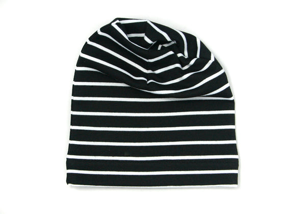 Black and White Striped Slouch Beanie