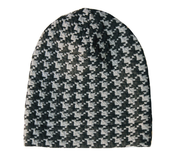 Black and Gray Houndstooth Slouch Beanie