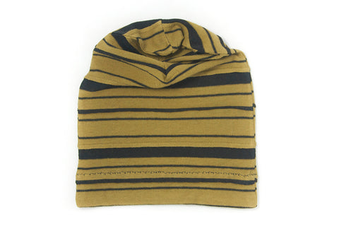 Mustard and Black Striped Slouch Beanie