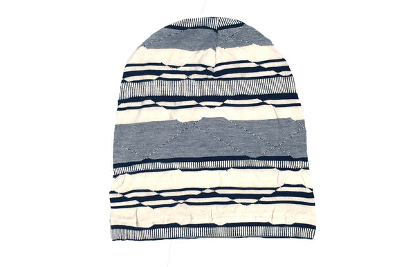 Cream and Black Striped Slouch Beanie