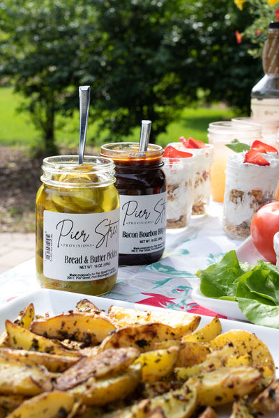 Pickles are a delicious staple for an ultimate backyard bbq! Get a tasty jar from Pear & Simple gift shop in Port Washington, Wisconsin.