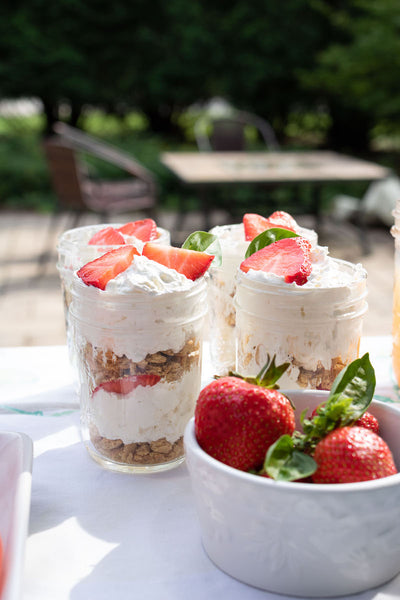 This cold and sweat Strawberry dessert is great for any summer barbecue. Purchase the ingredients at Pear & Simple gift shop in Port Washington, Wisconsin.