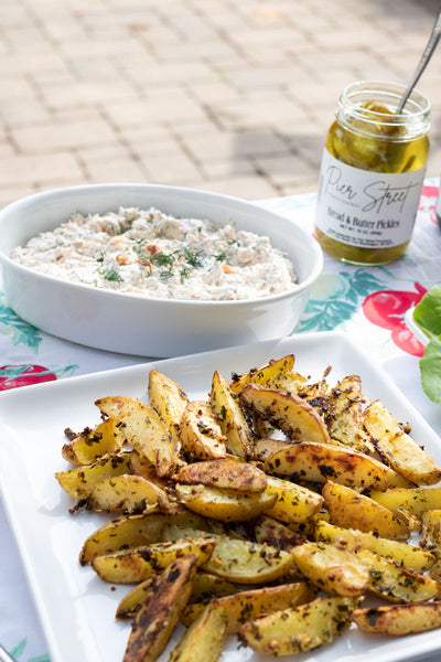 These fries are a simple addition to your ultimate backyard bbq. Get seasoning and dips from Pear & Simple in Port Washington, Wisconsin.