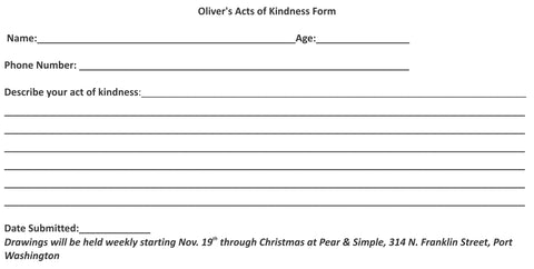 Oliver The Ornament Act of Kindness Submission Form