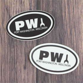 Black & White PW Car Sticker