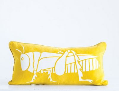 "24""W x 12""H Cotton Velvet Pillow w/ Grasshopper, Yellow"