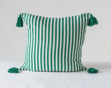 "18"" Square Cotton Woven Striped Pillow w/ Tassels, Green"