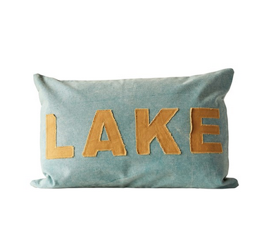 "24""L x 16""H Cotton Canvas Appliqued Pillow ""Lake"""
