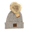Large Patchwork Heathered Pom Beanie