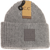 Solid Ribbed Beanie with Rubber Patch