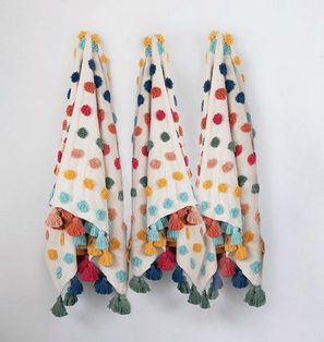 Woven Cotten Tufted Dots & Tassels Throw