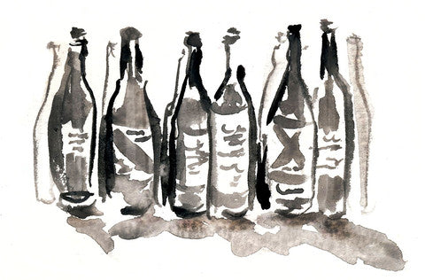 Row of bottles in watercolor