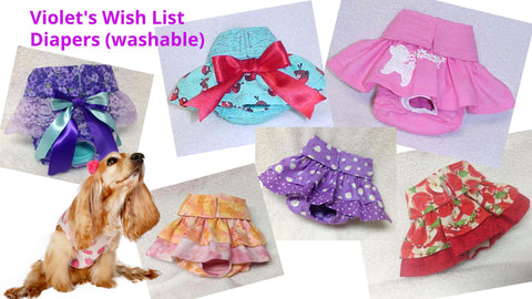 Violet's wish list: doggie diapers