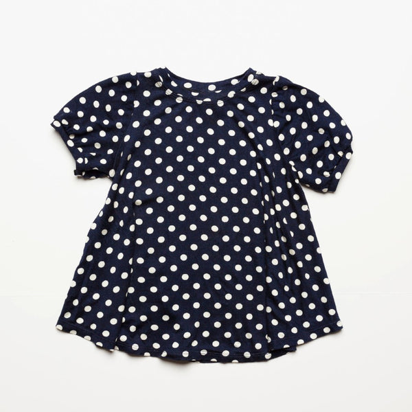 Navy Polka Dot Puff Sleeve Top