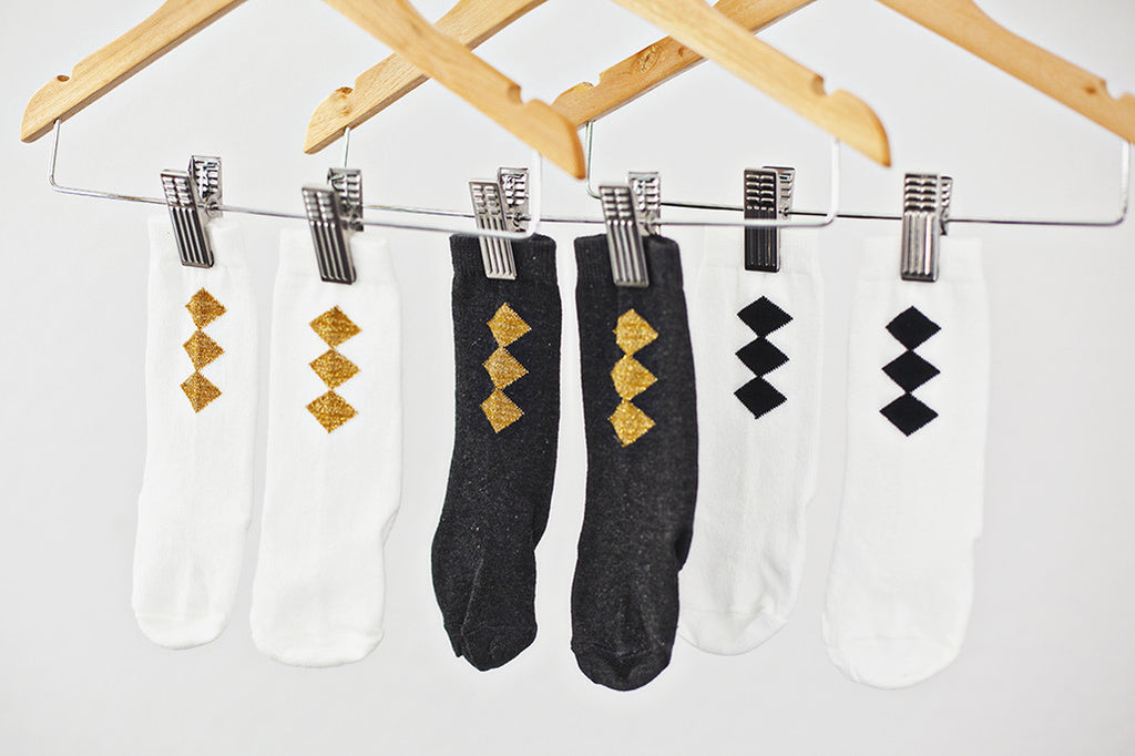 Gold Diamond Knee High Socks on Charcoal