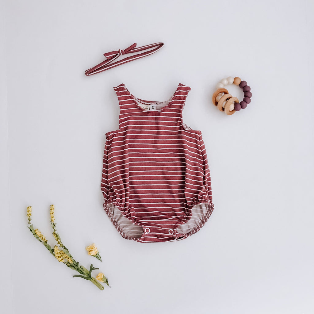 Fawn Pink Bubble Romper + headband