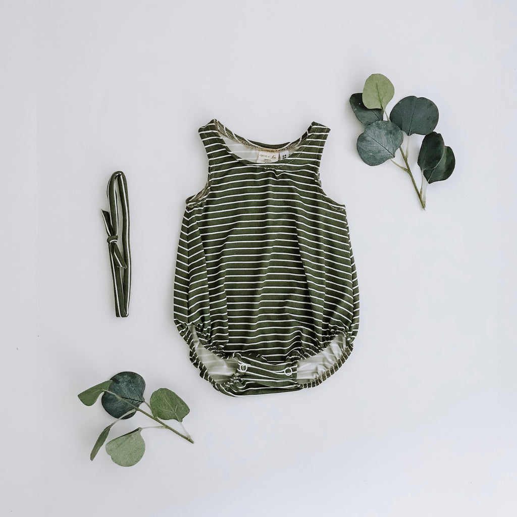 Sage Bubble Romper + headband