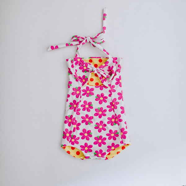 Flower / Polka dot Reversible Swimsuit