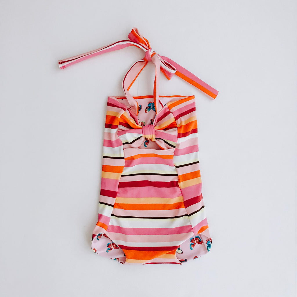 Striped / Butterfly Reversible Swimsuit