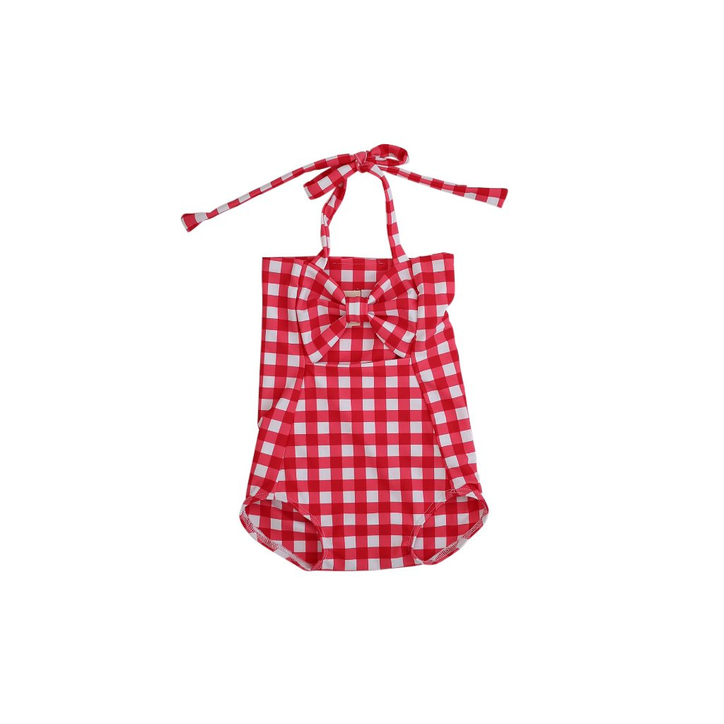 RED Gingham Swimsuit w/o leg ruffles