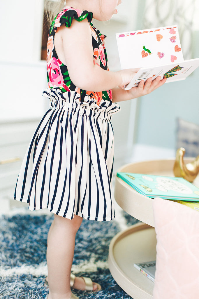 Navy and Creme Striped Skirt