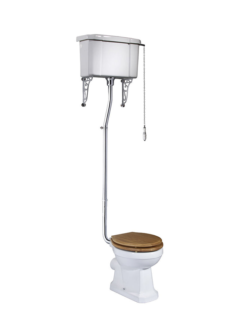 Tavistock Vitoria High Level WC Pan, Cistern, Flush Pipe Kit, Brackets & Soft Close Natural Oak Seat