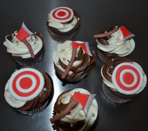 AxeThrowing Cupcake Axe Throwing Cupcake Target by SugarStreetBoutique Custom Made Luxury Cupcake Unique Cupcake Masterpiece Themed Cupcake Chocolate Cupcakes Toronto Canada Ontario