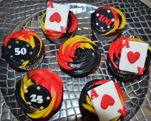 Fraternity Cupcakes by Sugar Street Boutique TriColour Swirl Cupcakes Chocolate Poker Cupcakes Toronto Ontario Canada Red Gold and black cupcakes Frosting