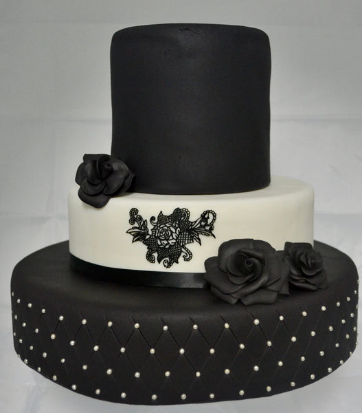 Black & White 3 Tier Wedding Cake by Sugar Street Boutique Toronto. Black roses wedding cake.
