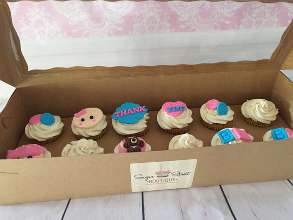 Baby cupcakes by Sugar Street Boutique. Toronto. Baby Cupcakes. Thank you Cupcakes.