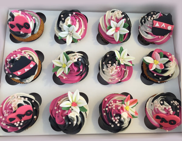 ique TriColour Swirl Cupcakes Chocolate Carrot Cupcakes Toronto Ontario Canada Pink White and black cupcakes Frosting Lilies Cupcakes Lily