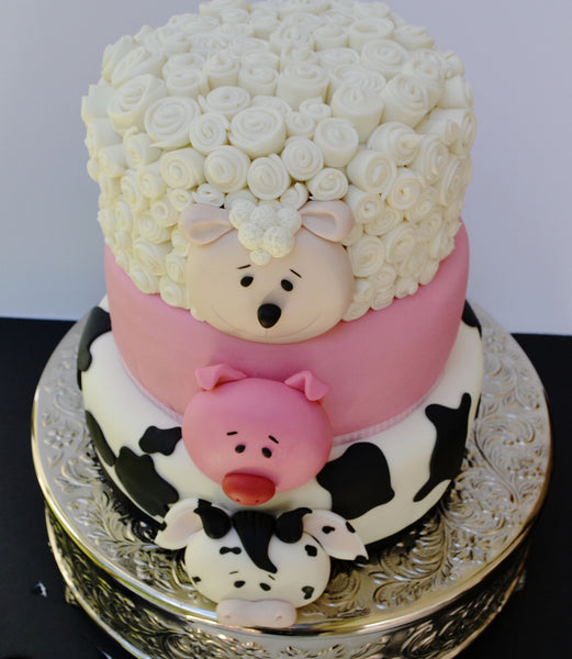 farm animals 3 tier cake with a sheep tier, cow tier and a pig tier, kids birthday cake by sugar street boutique toronto