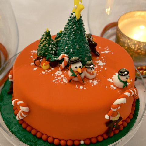 Christmas Cake Design by Sugar Street Boutique Toronto Ontario Canada Themed Fondant Designs -  Custom Made Luxury Cake Unique Fondant Masterpiece Cake Fabulous Cake Christmas Fondant Winter cake Candycane cake christmas tree cake