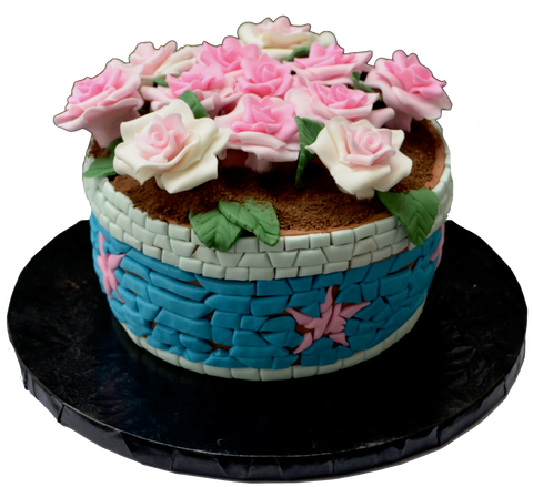 mosaic tile flower pot cake. broken flower pot cake. edible roses. roses cake. floral pot cake. sugar street boutique toronto