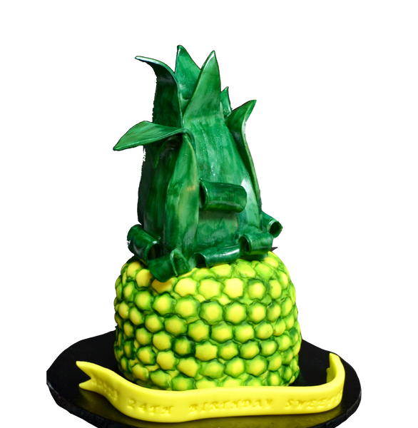 chocolate cake shaped as a pineapple. Pineapple cake by sugar street boutique