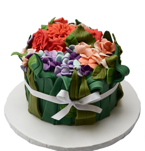 flower bouquet cake. hydrangeas, roses and flowers cake. chocolate cake. flowers. edible flowers. sugar street boutique. toronto cakes. edible leaves.