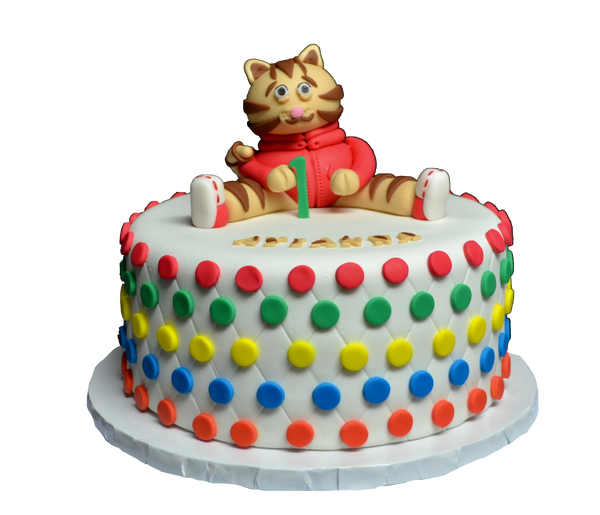 Daniel the tiger cake for a 1st birthday party, vanilla flavoured and fondant covered with edible daniel the tiger by Sugar Street Boutique
