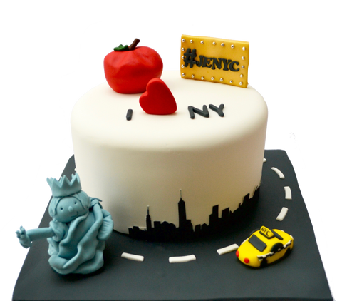 I love New york cake i love NYC with edible statue of liberty, edible yellow taxi and an edible big apple by sugar street boutique toronto