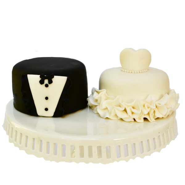 Bride & groom mini cakes perfect for a wedding, bridal shower or  engagement party featuring a wedding dress and a tux made from fondant by Sugar Street Boutique Toronto