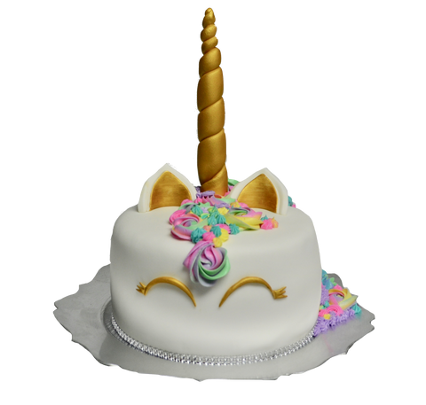 Unicorn chocolate cake covered with fondant and decorated with icing flowers rosettes by sugar street boutique, toronto