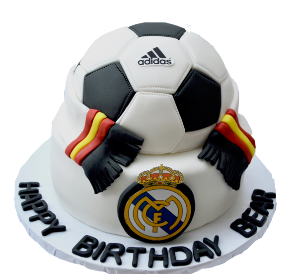 real madrid fc soccer red velvet cake with an adidas soccer ball cake and the real madrid soccer scarf made of fondant by sugar street boutique toronto cakes