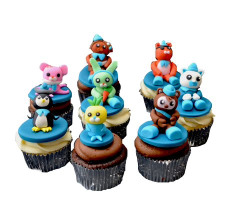 Octonauts chocolate and vanilla Cupcakes with toppers by sugar street boutique toronto