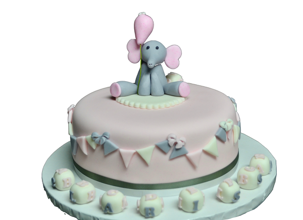 Carrot Baby shower cake, It's a girl, with grey and pink elephant and baby cubes and flags covered in fondant by Sugar Street Boutique