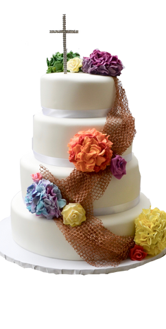 4 tier chocolate cake with Edible fishing net with edible colourful orange, yellow, purple, blue and green hydrangeas and roses chocolate cake by Sugar Street Boutique, Cakes Toronto.
