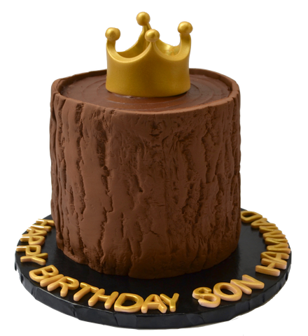 tree trunk cake with a gold edible crown on top, chocolate cake for a birthday by sugar street boutique toronto cakes