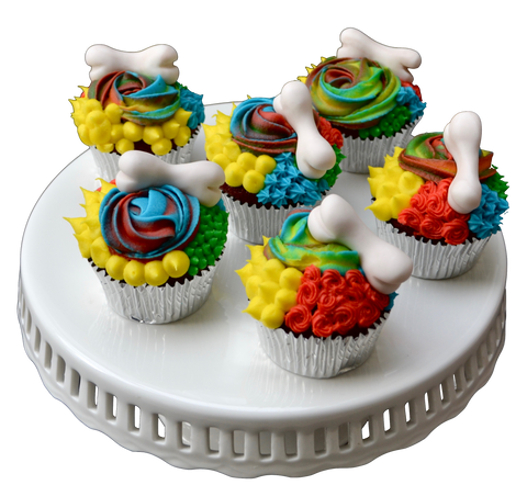dog bone cupcakes. dog birthday cupcakes. colourful icing cupcakes. toronto cupcakes. sugar street boutique toronto.