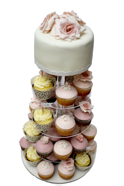 wedding cupcake tower with edible roses and pale pink, rose colours and white by sugar street boutique toronto